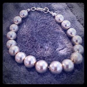 Silver-toned metal bead bracelet